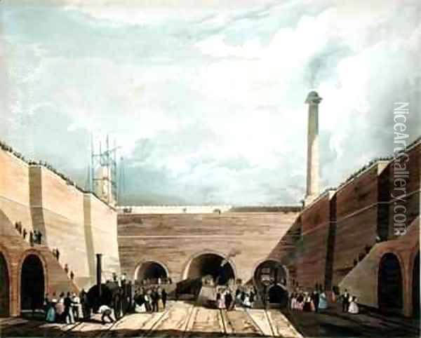Entrance of the Railway at Edge Hill, Liverpool Oil Painting - Thomas Talbot Bury