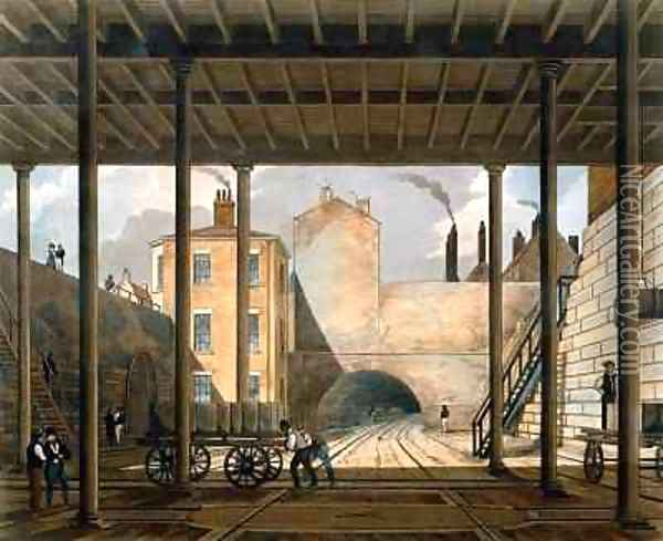 Warehouses etc at the end of the Tunnel towards Wapping Oil Painting - Thomas Talbot Bury