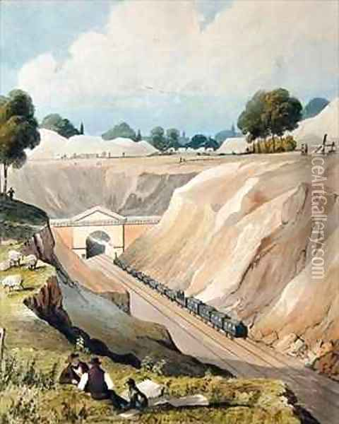 Entrance to the Tunnel at Watford Oil Painting - Thomas Talbot Bury