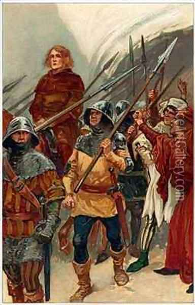 Surrounded by armed men, Wallace was taken to Westminster Hall to be tried as a traitor Oil Painting - Gordon Frederick Browne