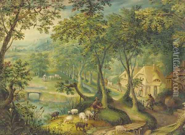 A wooded landscape with a shepherd and sheep on a track with figures before cottages beyond Oil Painting - Hans Bol