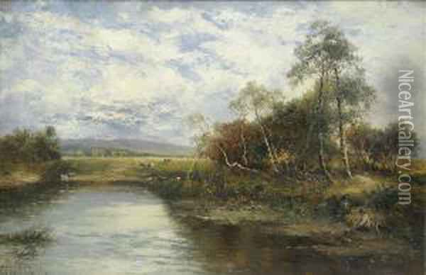 A Quiet Backwater,summer River  Landscape With Anglers And Dog, Cattle Watering In Theshallows Beyond Oil Painting - Carl Brennir