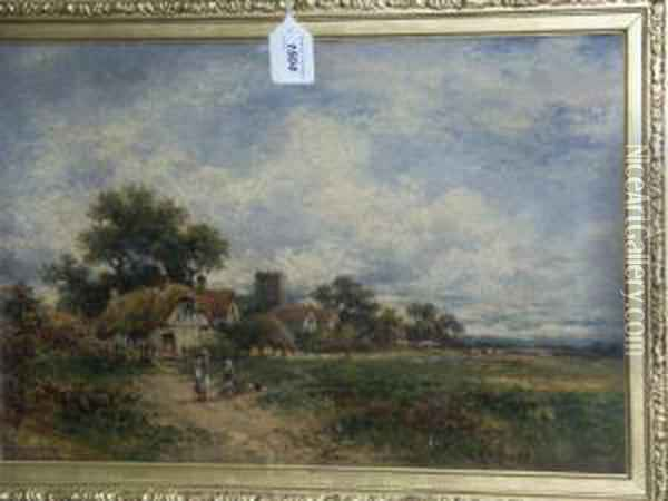 The Village Common, A Summer Landscape With Thatched Cottages, Children And Sheep Dog Oil Painting - Carl Brennir