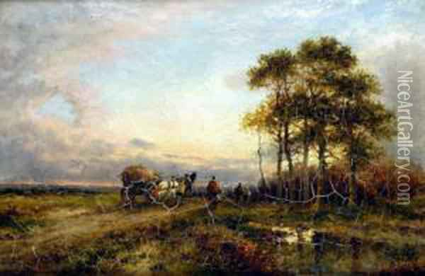 Returning From The Fields, Sunset With Figures And Hay Cart Oil Painting - Carl Brennir