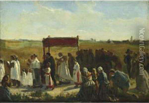 Study For The Blessing Of The Wheat In Artois Oil Painting - Jules Breton