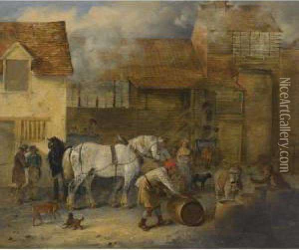 Dray Horses Outside A Brewery Oil Painting - Edmund Bristow