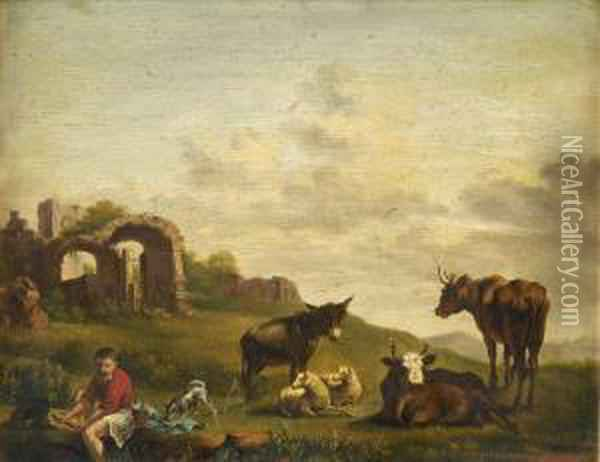 Droverresting On A River Bank, With Donkey, Cattle, Sheep And Dog, Ruinsbeyond Oil Painting - Edmund Bristow