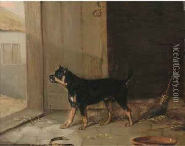 A Bullterrier Hearing A Visitor Oil Painting - Edmund Bristow