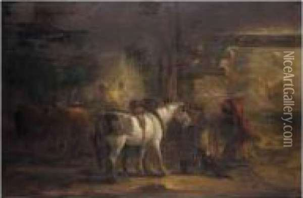 Saddling A Horse In A Stable Oil Painting - Edmund Bristow