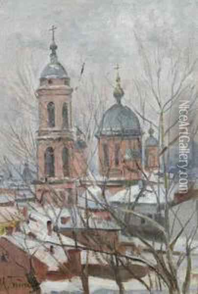 Church. Oil Painting - Isaak Israilevich Brodsky