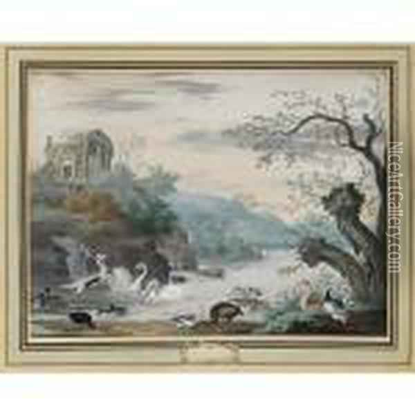 An Italianate River Landscape  With Swans, A Heron, Ducks And A Goose, A Ruin On The Hill In The  Background Oil Painting - Johannes Bronkhorst