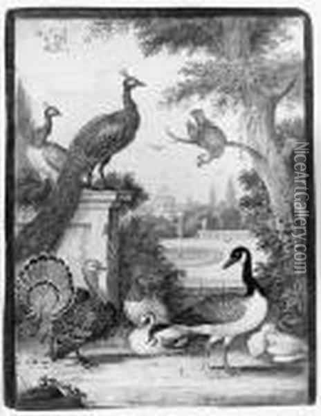 Peacocks, A Parrot, A Goose, A Turkey, Ducks And Another Bird In Apalatial Garden Oil Painting - Johannes Bronkhorst