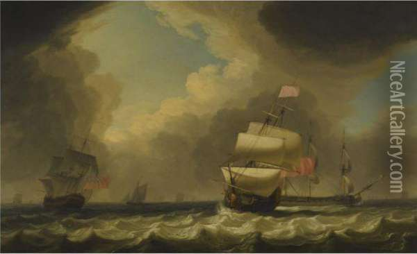 Shipping In A Stiff Breeze Oil Painting - Charles Brooking