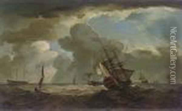 A Two-decker Heeling In An Offshore Breeze Oil Painting - Charles Brooking