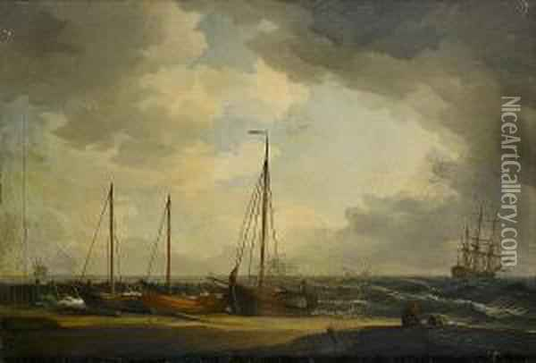 Fishing Boats On The Beach Before The Incoming Tide Oil Painting - Charles Brooking