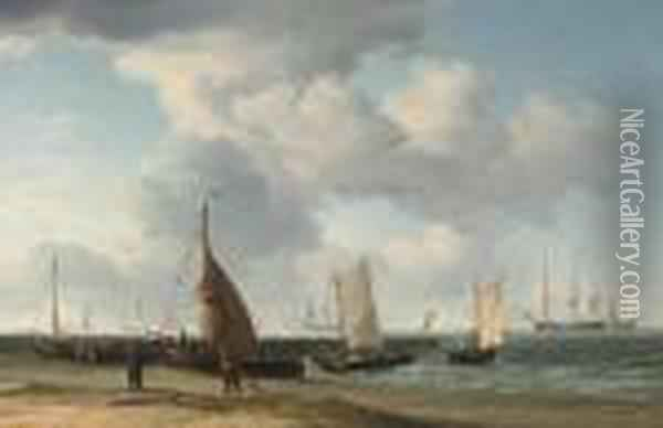A Dutch Fishing Pinck Hauled Up On The Beach, With Men-o'war At Anchor In The Distance Oil Painting - Charles Brooking