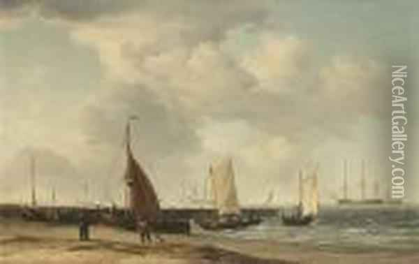 A Beach Scene With Men-o-war In The Distance Oil Painting - Charles Brooking