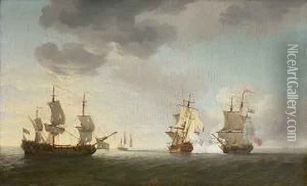 The Taking Of The French  Merchantmen 'marquese D' Antin' And 'louis Erasme' By The English  Privateers 'prince Frederick' And 'duke', 10th. July Oil Painting - Charles Brooking