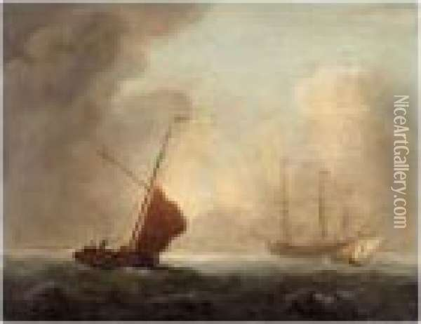 Dutch Man-o'-war With Fishing Boats In The Foreground Oil Painting - Charles Brooking