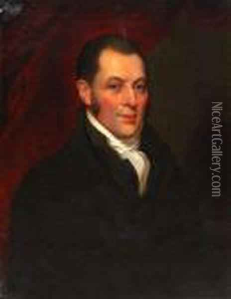 Portrait Of A Gentleman With Black Top Coat Andwhite Stock Oil Painting - Mather Brown