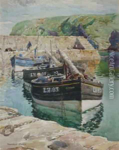 Fishing Boats In Harbour Oil Painting - William Mason Brown