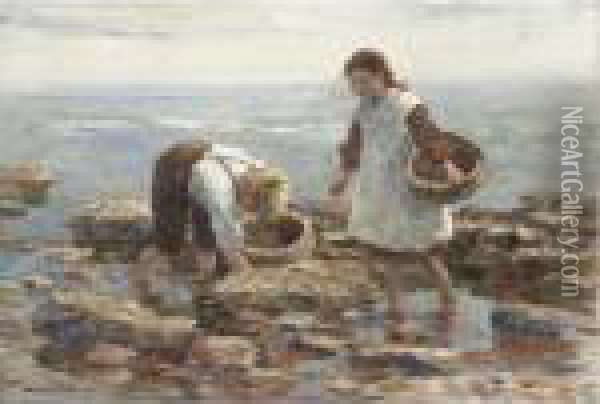 Mussel Gatherers Oil Painting - William Mason Brown