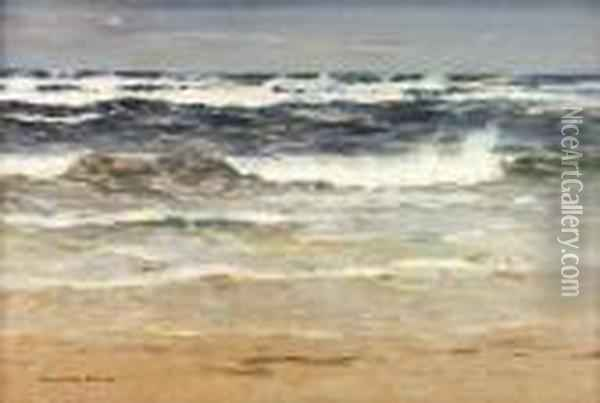 Waves Breaking On A Deserted Beach Oil Painting - William Mason Brown