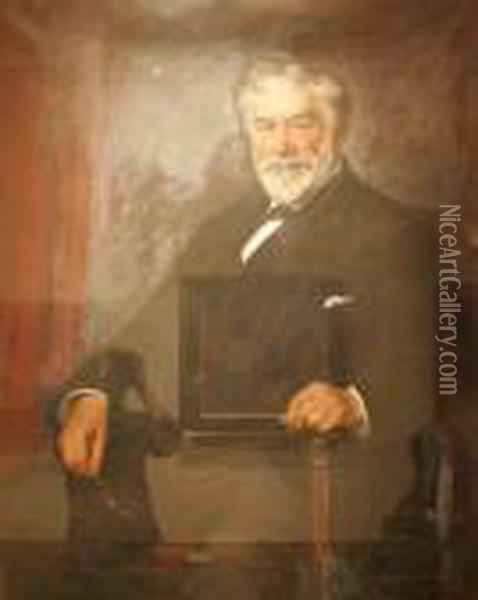 Portrait Of Alfred Large, Seated Oil Painting - William Mason Brown