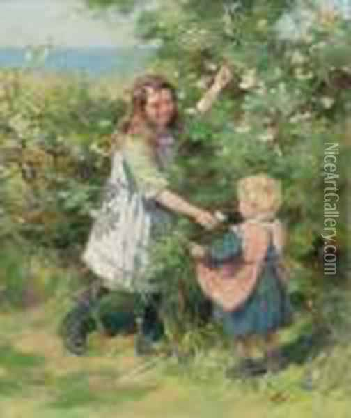 Wayside Roses Oil Painting - William Mason Brown