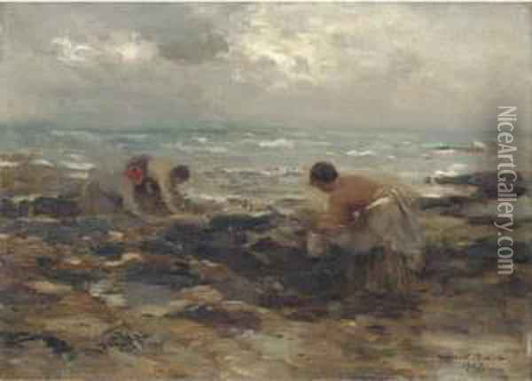 The Mussel Gatherers Oil Painting - William Mason Brown