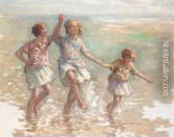 Paddling In The Sea Oil Painting - William Mason Brown