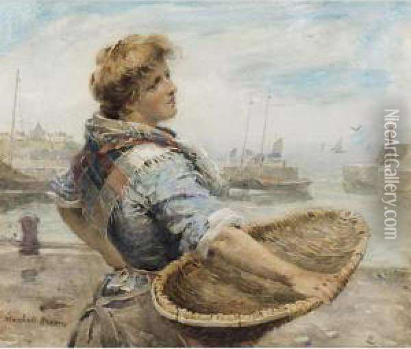 A North Country Fisher Girl Oil Painting - William Mason Brown