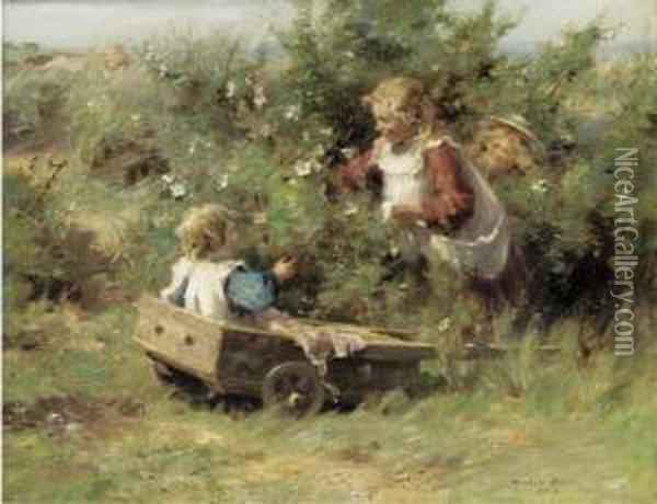 Among Wild Roses Oil Painting - William Mason Brown