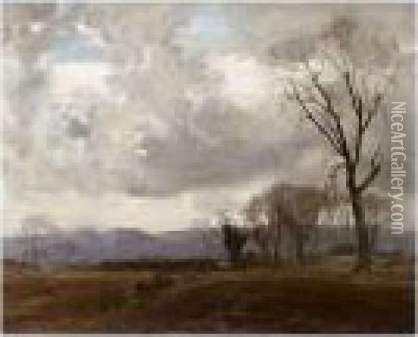 Ochil Hills From Bridge Of Earn Oil Painting - William Mason Brown