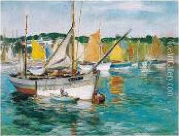 Concarneau Boats Oil Painting - William Mason Brown