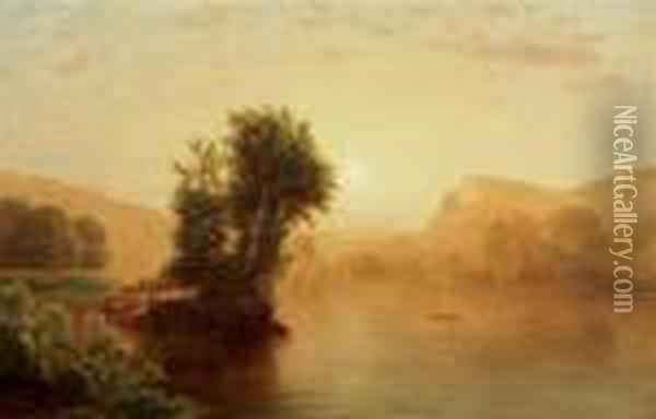 River Scene At Sunset Oil Painting - William Mason Brown