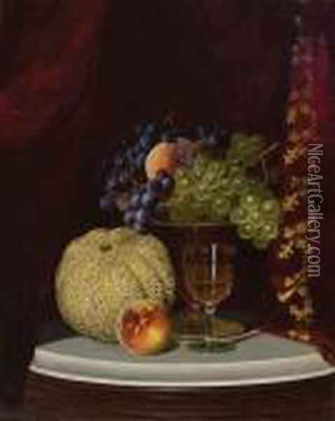 Fruit And Wine Glass On A Table Top Oil Painting - William Mason Brown