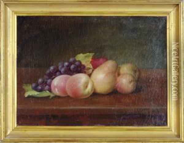 Still Life With Grapes, Pears And Peaches; And A Companionpainting Oil Painting - William Mason Brown