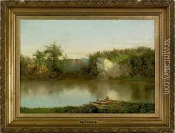 Oil On Landscape With Figures Oil Painting - William Mason Brown