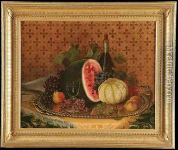 Still Life With Watermelon, Grapes, Peaches And Pears Oil Painting - William Mason Brown