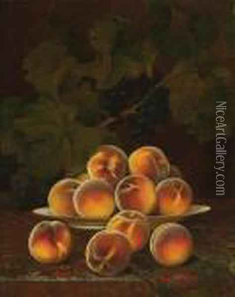 Still Life With Peaches Oil Painting - William Mason Brown