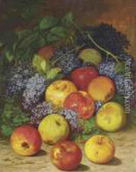Apples And Lilacs Oil Painting - William Mason Brown