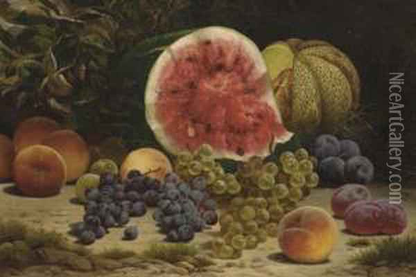 Still Life With Watermelon, Grapes, Peaches And Plums Oil Painting - William Mason Brown