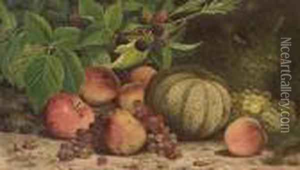 Still Life With Melon, Grapes, Peaches, Pears And Black Raspberries Oil Painting - William Mason Brown