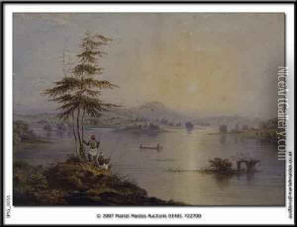 Lake View With Figures Fishing Inthe Foreground Oil Painting - Charles Frederick Buckley