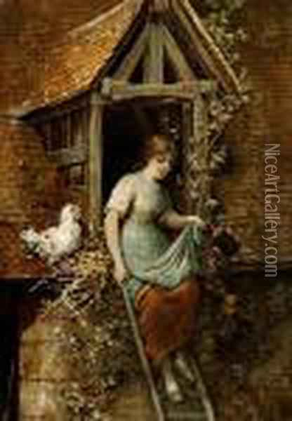 A Young Girl Collecting Eggs While Standing On A Ladder Oil Painting - Hendricus-Jacobus Burgers