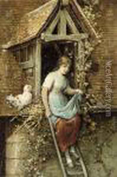 Fetching Water; And Collecting Eggs Oil Painting - Hendricus-Jacobus Burgers