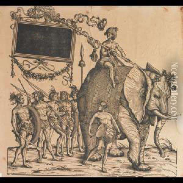Trumpeting Messenger On A  Griffon; Elephant Procession (from Thetriumphal Procession Of Emperor  Maximilian I) Oil Painting - Hans I Burgkmair