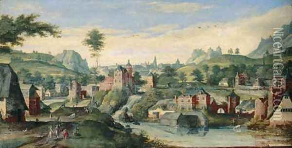 An extensive landscape with Abraham and the three Angels Oil Painting - Hans Bol