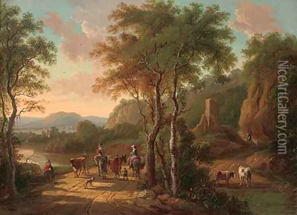 A mountainous landscape with travellers on a track by a river Oil Painting - Jan Both